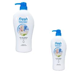 Combo Sữa tắm Dê  Fresh 1200g + sữa tắm Dê Fresh 550g