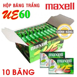 Hộp 10 Băng Cassette Trắng Maxell UE™ 60 min - Made in Indonesia
