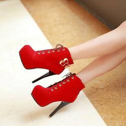 Boot nữ cổ ngắn cột dây 12cm sành điệu