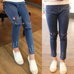 Quần jean dài bé gái cào rách jean mềm co giãn cực đẹp 8-23kg