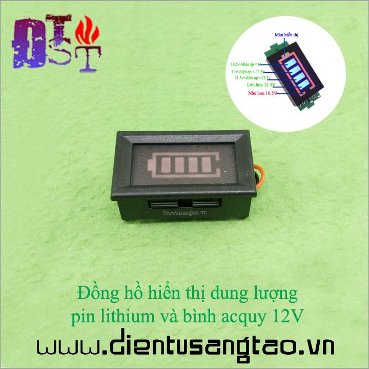 Đồng hồ hiển thị dung lượng pin lithium và bình acquy 12V 1