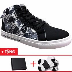 Giày cổ cao nam họa tiết giày nhỏ+1 ví +2 tất T801DE