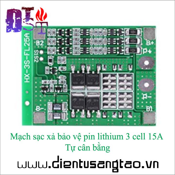 Mạch sạc xả bảo vệ pin lithium 3 cell 15A Tự cân bằng 3