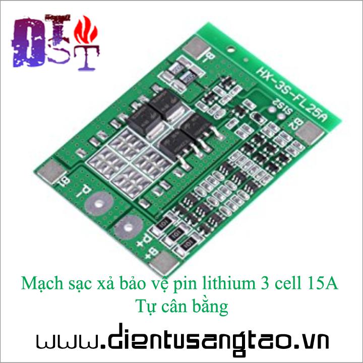 Mạch sạc xả bảo vệ pin lithium 3 cell 15A Tự cân bằng 5