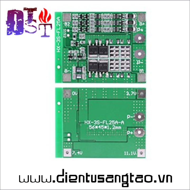 Mạch sạc xả bảo vệ pin lithium 3 cell 15A Tự cân bằng 6