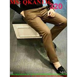 Quần kaki nam phôm đứng ống ôm màu nâu QKAN136