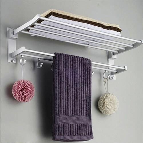 Giá treo khăn 2 tầng nhà tắm cao cấp có móc treo-125