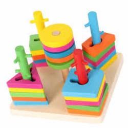 Bộ đồ chơi xếp hình 5 trụ cột bằng gỗ