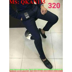 Quần kaki nam phôm đứng ống ôm màu xanh đen QKAN135