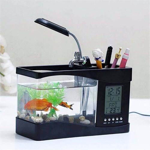 Bể cá cảnh phong thủy mini để bàn có đèn led sử dụng nguồn usb