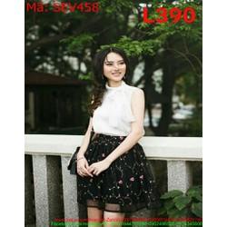 Sét áo kiểu cổ lọ sát nách và chân váy xòe hoa nổi SEV458