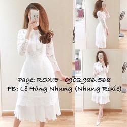 Set váy dập ly + áo dài ren nơ - A33211