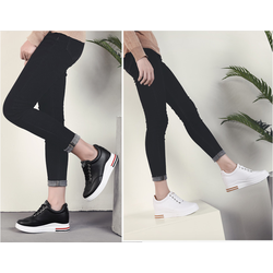 Giày SNK nữ độn 8p da cao cấp siêu mềm siêu nhẹ 2 màu 2 đen ,trắng