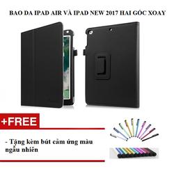 Bao da Ipad Air Ipad New 2017 hai góc xoay tặng kèm bút cảm ứng