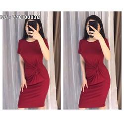 Đầm thun body đỏ xoắn eo VD776