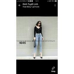 quần jeans nữ trơn màu xanh
