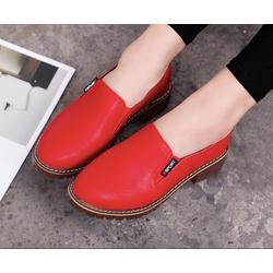Giày slip on nữ cao 5p da cao cấp 3 màu đen ,trắng ,đỏ