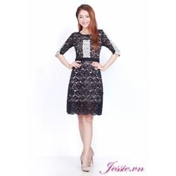 Đầm Ren Đen Viền Ren Trắng - Jessie Boutique