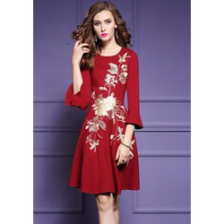 Đầm trung niên cao cấp phom xòe thêu tay trực tiếp hàng nhập có size