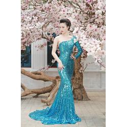 Chuyên sỉ - Đầm dạ hội xanh kim sa cao cấp lệch vai quý phái