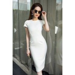 Chuyên sỉ - Đầm dự tiệc ôm body trắng trẻ trung thiết kế đơn giản