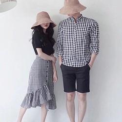 ĐỒ ĐÔI CHO VALENTINE-Bộ ba áo nam cổ trụ và set áo chân váy