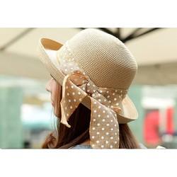 nón cói, mũ cói, mũ thời trang, mũ đi biển, mũ cói thắt nơ chấm bi