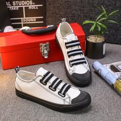Giày lười vải nam black-white thời trang 2018