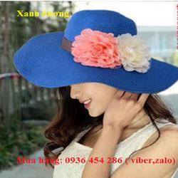 nón mũ đi biển, nón cói, mũ cói rộng vành, mũ rộng vành gắn hoa đôi