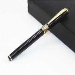 Bút ký viết gel 0.7mm vỏ kim loại sơn đen họa tiết mạ màu vàng B68