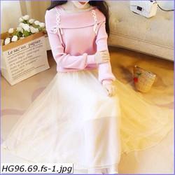 Sét Áo Len Chân Váy Lưới Siêu Hot -sb1532