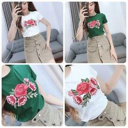 áo thun nữ thun thái form ôm thêu hoa hồng pd7