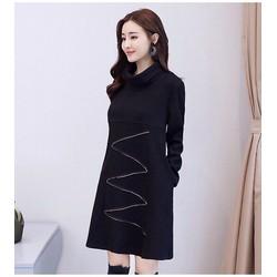 Đầm len suông cổ lọ tay dài họa tiết đơn giản hàng nhập có size lớn