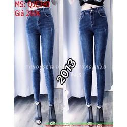 Quần jean nữ lưng cao ống ôm xước nhẹ phong cách và cá tính QJE340