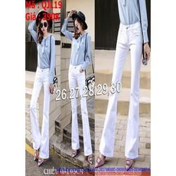 Quần jean nữ kiểu ống loe màu trắng trẻ trung và sành điệu QJL19