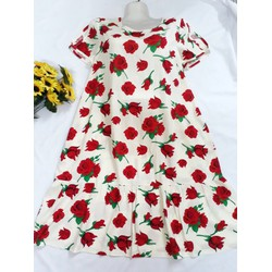 Đầm Bầu Đuôi Cá Hoa Hồng Đỏ