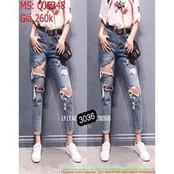 Quần jean nữ lưng cao rách ô sành điệu và thời trang QJE348