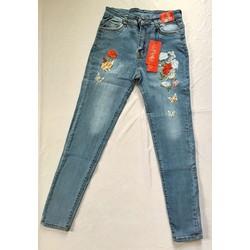 Quần jeans nữ thêu hoa