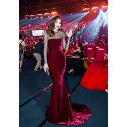 Đầm dài nhung đỏ đô phối lưới