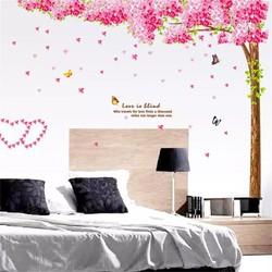decal dán tường cây đào hạnh phúc
