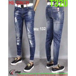 Quần jean nam màu xanh wash rách kẻ ô phong cách bụi bặm QJN139