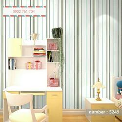 10m giấy dán tường sọc nhỏ nền trắng