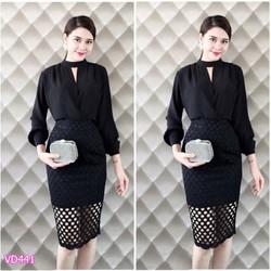 Đầm body áo tay dài váy đắp ren Bạch Nguyễn