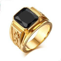 Nhẫn nam rồng mạ màu vàng đá đen
