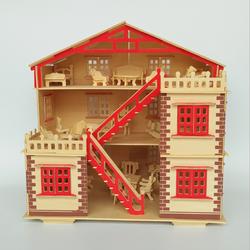Đồ chơi lắp ráp gỗ 3D Mô hình Biệt thự gỗ Kèm Nội thất - Tặng kèm đèn LED USB trang trí