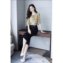 SET ÁO HOA QUẦN ỐNG SUÔNG CAO CẤP-DCC24