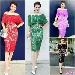 Đầm ren body bẹt vai Bạch Nguyễn