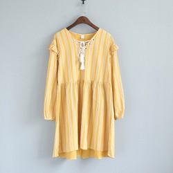 Đầm form rộng thắt dây nơ tay dài phong cách Hàn Quốc