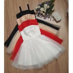 Đầm xòe công chúa hai dây phối lưới cao cấp 4 màu đỏ, đen, trắng, da