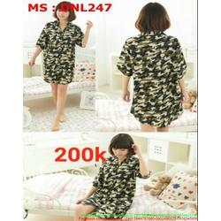 Đầm ngủ nữ sơ mi hao văn rằn ri nổi bật DNL247